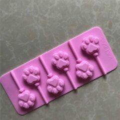 BukkitBow - 6 Kattenpootjes Lolly Mal - 6 Roze Siliconen Kattenpootjes