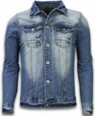 Tony Backer Spijkerjasje - Spijkerjasje Heren Denim Jacket - Stonewashed Look - Blauw SpijkerJas Heren Spijkerjas Maat L