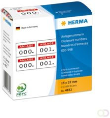 HERMA Enclosure numbers self-adhesive 2 labels printed in row 15x22 mm red p (4832)