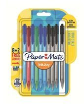 Papermate InkJoy 100 RT 8+2 Zwart, Blauw, Groen, Rood Clip-on retractable ballpoint pen Medium 10 st