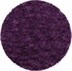 Impression Himalaya Pearl Soft Rond Shaggy Hoogpolig Vloerkleed Paars / Lila - 120 CM ROND