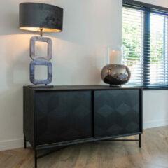 Zwarte Richmond Interiors Richmond Dressoir 'Blax' 160cm, Eikenhout en staal