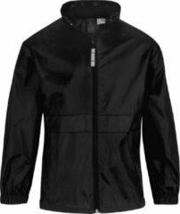 Merkloos / Sans marque Windjas/regenjas voor jongens zwart 12-13 jaar