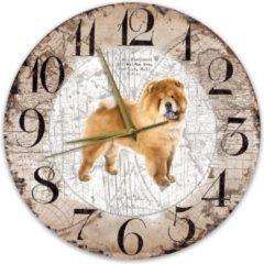 Bruine Creatief Art Houten Klok - 30cm - Hond - Chow Chow