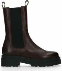 Sacha - Dames - Donkerbruine leren chelsea boots - Maat 39
