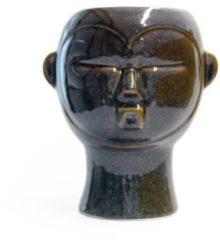 Pt, Pt Living - Mask Round - Plantenpot - Porselijn - 18,7x22x17,8cm - Donkerbruin