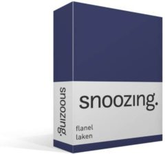 Marineblauwe Moment By Moment Snoozing flanel laken Navy 1-persoons (150x260 cm) (80 navy)