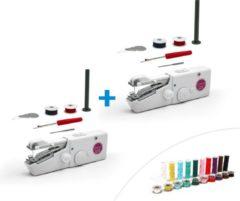 Witte Starlyf Fast Magic Sew 2 stuks Handnaaimachine | Draadloos en Compact | Inclusief Garen | Reis Naaimachine