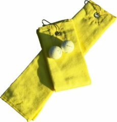Gele A&R Golf Handdoekje DeLuxe Velours Bright Yellow 400 gram - Set 5 stuks