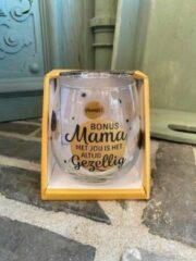 Gouden Creaties van hier Wijn - water glas / Bonusmama met jou is het altijd gezellig / wijnglas / waterglas / leuke tekst / moederdag / vaderdag / verjaardag / cadeau