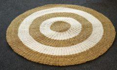 Beige Nusa Originals - Vloerkleed Natural (150cm) - Bohemien Stijl - Seagrass & Raffia - Fairtrade