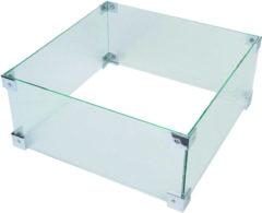 Transparante Happy Cocooning glazen ombouw voor vuurtafel vierkant of rechthoek 56x56x26 cm