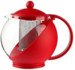 TT Theepot met theefilter- Voor losse thee - Ingebouwde zeef - 1.25L - Rood