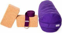 Zenzes PRO bolster met yogariem en 2 yogablokken - paars