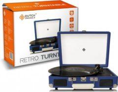 Donkerblauwe DUTCH ORIGINALS Retro Draaitafel, met geïntegreerde luidsprekers, Vintage Vinyl speler voor grammofoonplaten en audioapparatuur, AUX, 2 versterkers