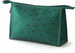 Fashion Favorite Toilettas Geometric Groen - Groot   Kunstleer / Polyester   26,5 x 17 x 9,5 cm