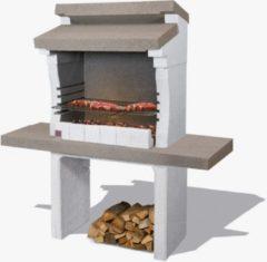 Grijze Sarom Fuoco - Betonnen barbecue - Sondrio - Houtskool en hout - 140 x 59 x 148 cm