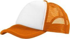 Merkloos / Sans marque Truckers cap/pet oranje/wit voor volwassenen - Koningsday / Oranje supporters