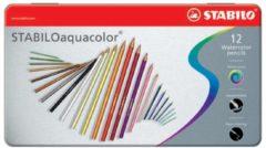 Kleurpotloden Stabilo Aquacolor 12stuks metalen etui assorti