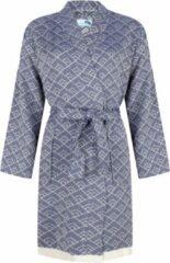 Donkerblauwe ZusenZomer hamam sauna dames badjas ochtendjas kimono GEO - Biologisch katoen - Blauw