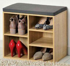 Naturelkleurige Decopatent Schoenenkast met GRIJS Zitkussen, voorzien van 5 Opbergvakken | Schoenenbank voor Schoenen en Laarzen | 1 Variabel Vak | Afm. 51,5 x 48 x 29,5 Cm. Kleur: EIKENHOUT