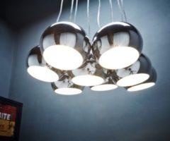 DeLife Deckenleuchte Pentola Chrom Silberfarben 55 cm 8 Schirme Rund