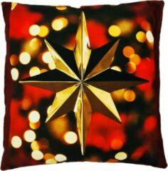 Bordeauxrode Decolenti Kerstster   Kerst Kussen   Goudgeel   Rood   Zwart   Sierkussenhoes   Super Zacht   Wasbaar   Decoratie   45cm x 45cm