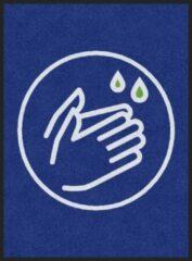 Blauwe MatStyles Vloerkleed Tapijt Message Mat - Was uw Handen - 115x85 - COVID-19 - Wasbaar