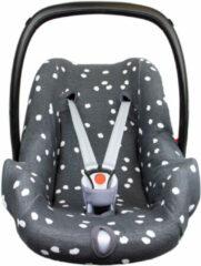 Grijze Briljant Baby autostoelhoes 0+ spots iron met interlock
