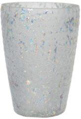 Clayre & Eef Glazen Theelichthouder 6GL2955 Ø 13*9 cm Wit Glas Rond Waxinelichthouder Windlichthouder
