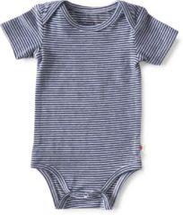 Donkerblauwe Little Label - baby - rompertje - wit, blauw streep - maat 50 - bio-katoen