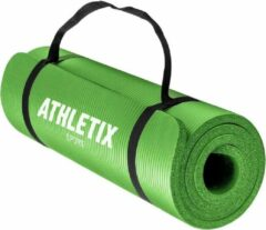 Athletix® Premium NBR Fitnessmat - Yogamat - 183 x 61 x 1.5 cm - met Draagriem en Draagtas - Groen