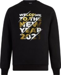 ByKemme Sweater zonder capuchon - Trui - Happy new Year - Sweater - Vest - Jumper - Ronde Hals Sweater - Oud&Nieuw - Jaarwisseling - Happy Holidays - Zwart - Welcome to the year 2021 - M