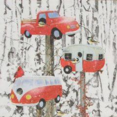 Rode Ppd Servetten Retro Birdhouses 33 x 33 cm