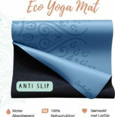 Sankalpa® Eco Yogamat Antislip met tas - Hot yoga mat - Extra Breed – Superieure Grip - Premium Natuurrubber - Blauw - 183 x 68 x 0.4 cm 4mm dik