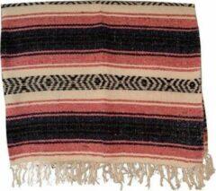Handgeweven uit Mexico Mexicaanse deken - falsa - acryl - 180 x 125 cm - groffe weefstructuur - Roze - MSAZZ0pinkblu