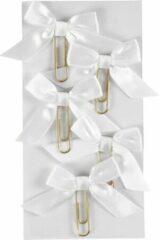 Creotime Paperclips Met Strik Wit 40 X 70 Mm 5 Stuks