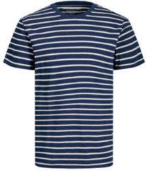 Marineblauwe JACK & JONES ESSENTIALS gestreept T-shirt met biologisch katoen marine