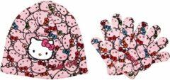 """Hello Kitty - Winterset - Muts & Handschoenen - Model """"Multiple Kitties!"""" - Roze - 54 cm"""