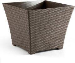 Bruine Forte Plastics 2x Taupe plantenbakken/bloempotten 37 cm - Woon/tuinaccessoires/decoratie - Bloempotten/plantenpotten voor binnen/buiten