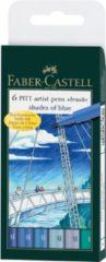 Faber Castell Tekenstift Faber-Castell Pitt Artist Pen Brush etui a 6 stuks shades of blue