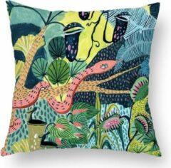 Donkergroene Moodadventures | Kussens | Kussenhoes Jungle Slang | 45 x 45 cm.