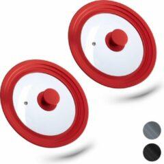 Rode Relaxdays 2 x glazen deksel - universeel - pannendeksel - met siliconen rand - voor pannen