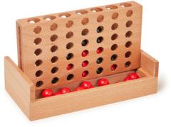 Kikkerland 4-op-1-rij Spel Klassiek Hout Bruin/rood/zwart