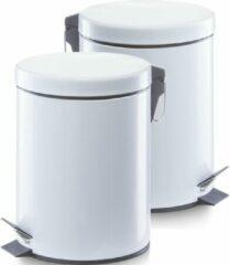 2x Witte vuilnisbakken/pedaalemmers 5 liter van 20 x 28 cm - Zeller - Huishouding - Badkameraccessoires/benodigdheden - Toiletaccessoires/benodigdheden - Kleine prullenbakken