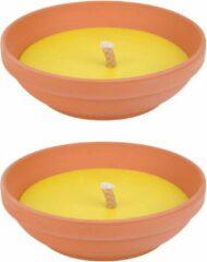 Gele Merkloos / Sans marque 3x stuks anti muggen Citronella kaars in brede schaal 23 cm - Geurkaarsen met 15 branduren - Anti-muggen kaarsen