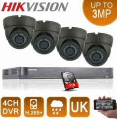 4X HD 1080P HIKVISION CCTV SYSTEM 2,4 MP DOME CAMERA 20 M IR LED DVR 4CH HDMI P2P REMOTE VIEW - 1 TB HDD