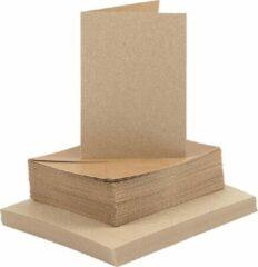 Naturelkleurige Creativ company Kaarten en enveloppen, afmeting kaart 10,5x15 cm, afmeting envelop 11,5x16,5 cm, 50 sets, naturel