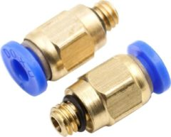 Gouden Hiden | 3D printer | Pneumatische fitting - Filament Tube Connector - M6 x 4mm | 2 stuks