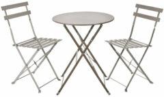 Blij-MakkertjeNL Bistro tafel set grijs met kussens - tuintafel - tuinstoel - tuin - zomer - tuin meubelen - genieten - thuis